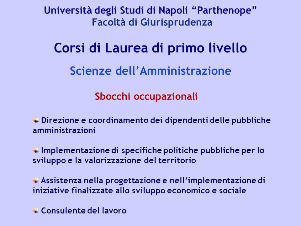 """Università degli Studi di Napoli """"Parthenope"""" Facoltà di Giurisprudenza Corsi di Laurea di primo livello Scienze dell'Amministrazione Direzione e coor"""