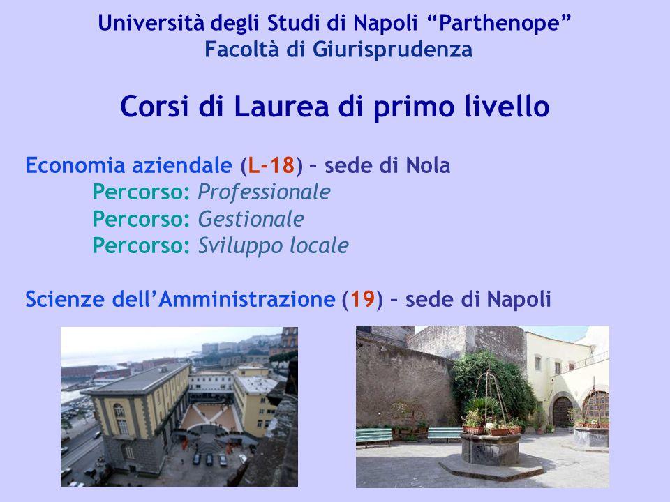 """Università degli Studi di Napoli """"Parthenope"""" Facoltà di Giurisprudenza Corsi di Laurea di primo livello Economia aziendale (L-18) – sede di Nola Perc"""