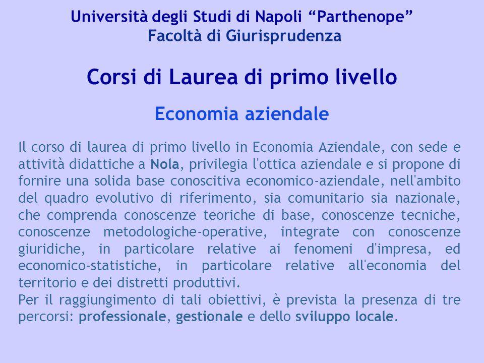 """Università degli Studi di Napoli """"Parthenope"""" Facoltà di Giurisprudenza Corsi di Laurea di primo livello Il corso di laurea di primo livello in Econom"""