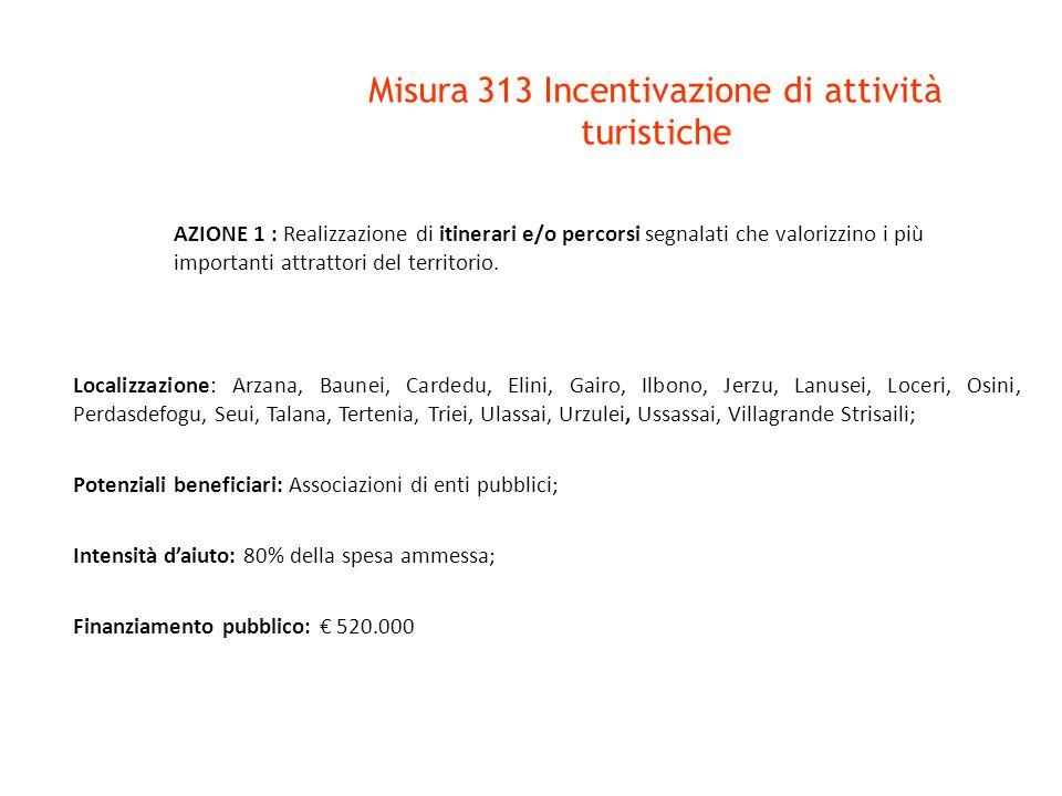 Misura 313 Incentivazione di attività turistiche AZIONE 1 : Realizzazione di itinerari e/o percorsi segnalati che valorizzino i più importanti attrattori del territorio.