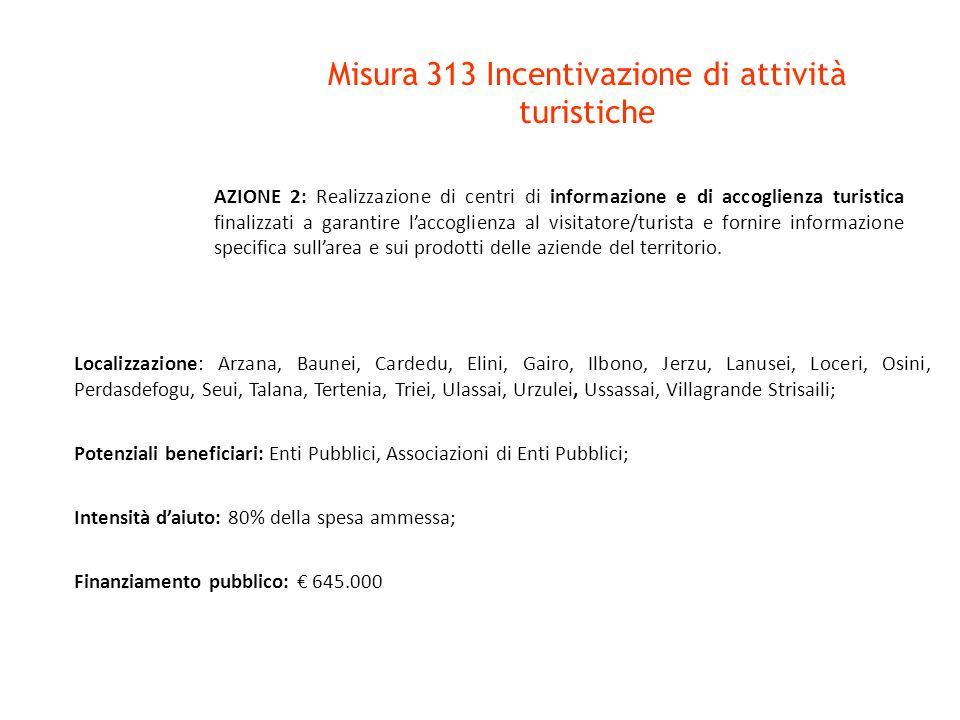 Misura 313 Incentivazione di attività turistiche Localizzazione: Arzana, Baunei, Cardedu, Elini, Gairo, Ilbono, Jerzu, Lanusei, Loceri, Osini, Perdasdefogu, Seui, Talana, Tertenia, Triei, Ulassai, Urzulei, Ussassai, Villagrande Strisaili; Potenziali beneficiari: Organismi di gestione dei servizi turistici; Intensità d'aiuto: de minimis nel limite massimo dell'80% dell'investimento ammesso; Finanziamento pubblico: € 400.000 AZIONE 3: Acquisizione di servizi inerenti il turismo in area rurale: progettazione, commercializzazione e promozione dell'offerta di turismo rurale, nonché di produzione di strumenti di comunicazione.