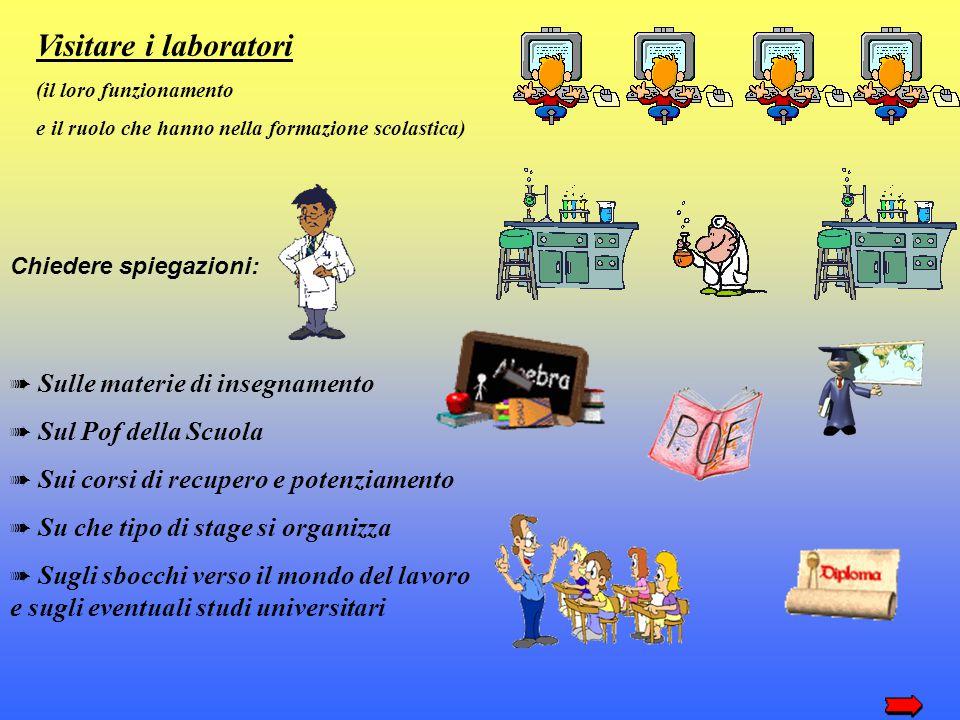Visitare i laboratori (il loro funzionamento e il ruolo che hanno nella formazione scolastica) Chiedere spiegazioni: ➠ S ulle materie di insegnamento