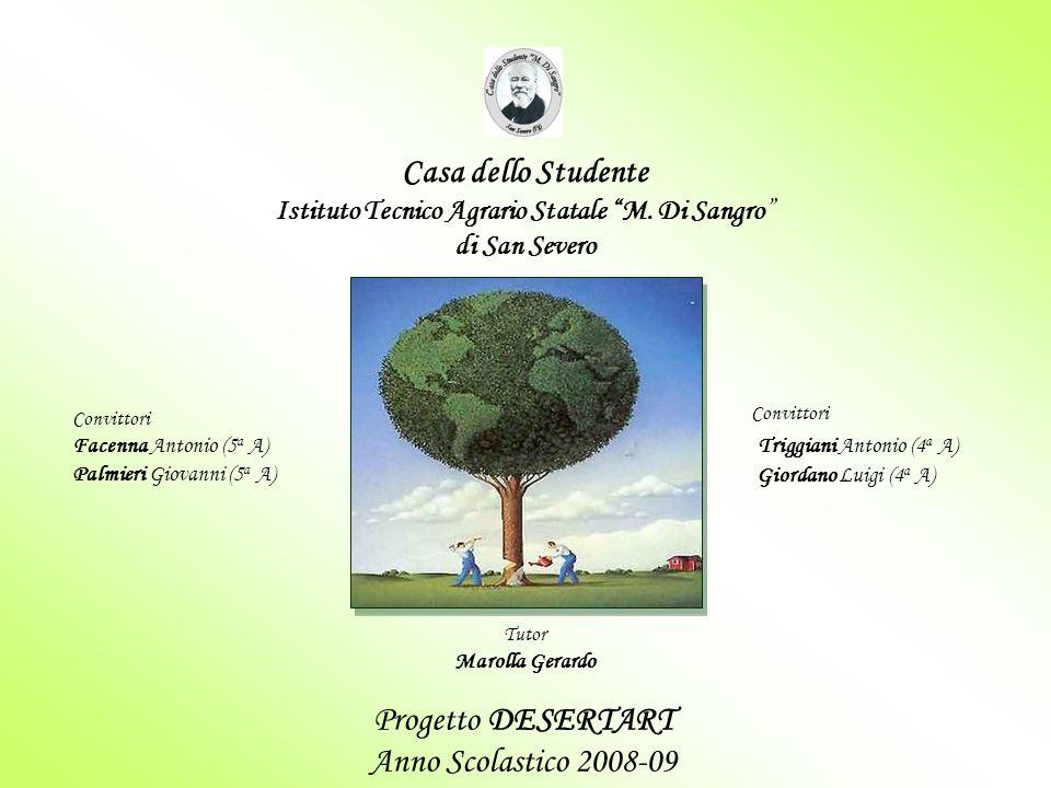 """Progetto DESERTART Anno Scolastico 2008-09 Casa dello Studente Istituto Tecnico Agrario Statale """"M. Di Sangro"""" di San Severo Convittori Triggiani Anto"""
