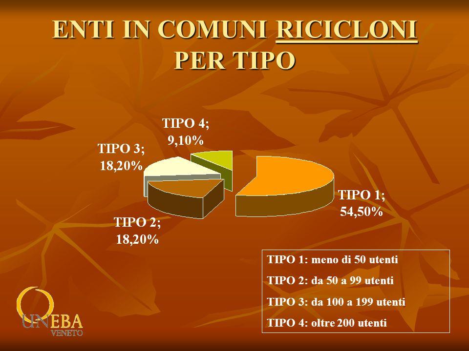 ENTI IN COMUNI RICICLONI PER TIPO TIPO 1: meno di 50 utenti TIPO 2: da 50 a 99 utenti TIPO 3: da 100 a 199 utenti TIPO 4: oltre 200 utenti