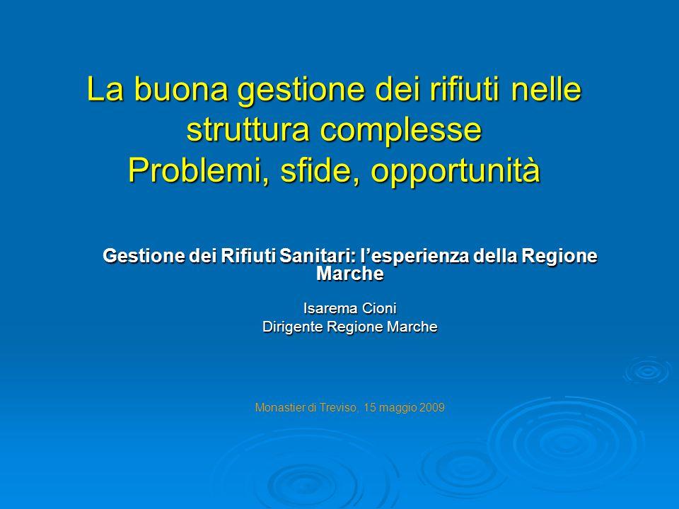 La buona gestione dei rifiuti nelle struttura complesse Problemi, sfide, opportunità Gestione dei Rifiuti Sanitari: l'esperienza della Regione Marche
