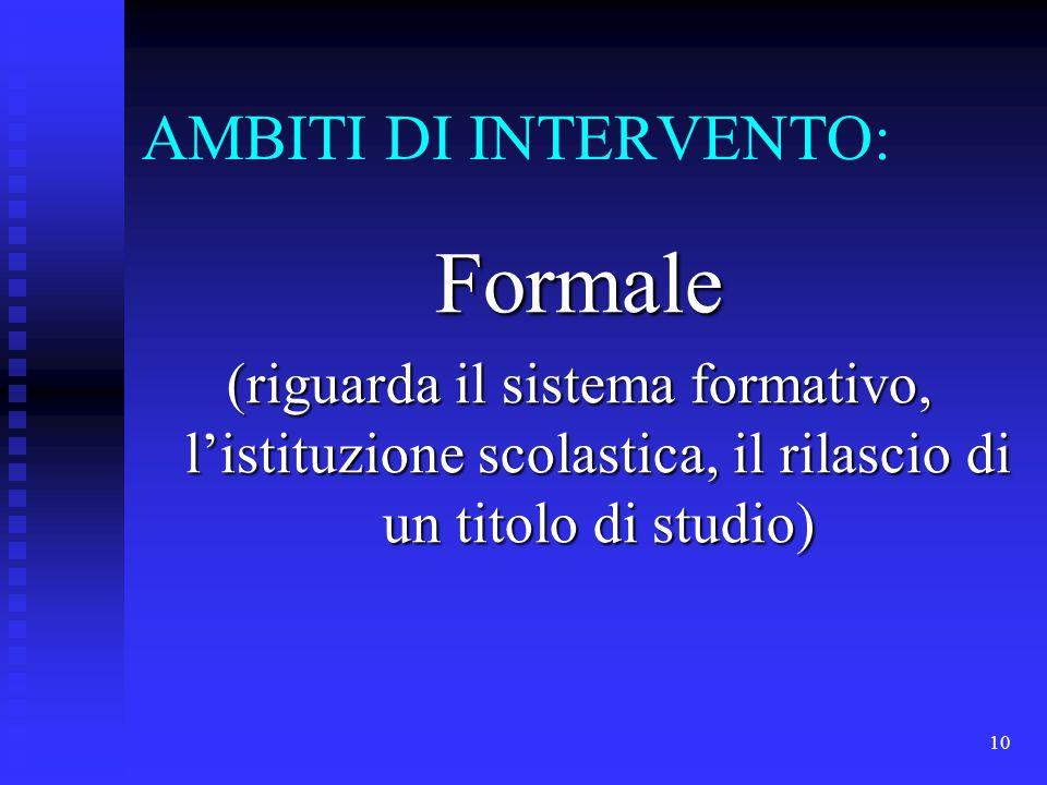 10 AMBITI DI INTERVENTO: Formale (riguarda il sistema formativo, l'istituzione scolastica, il rilascio di un titolo di studio)