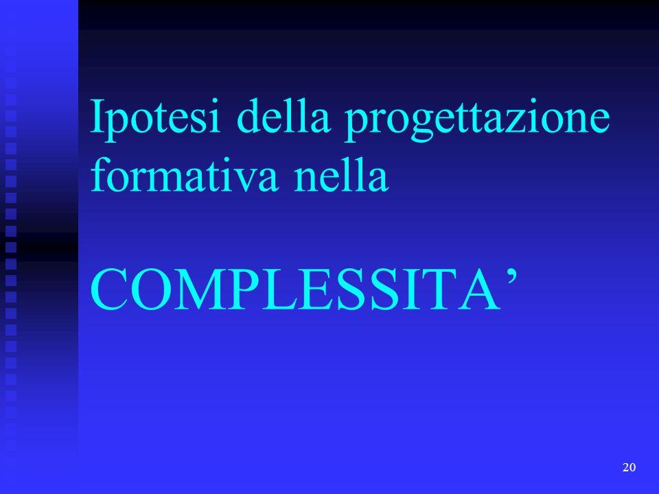 20 Ipotesi della progettazione formativa nella COMPLESSITA'