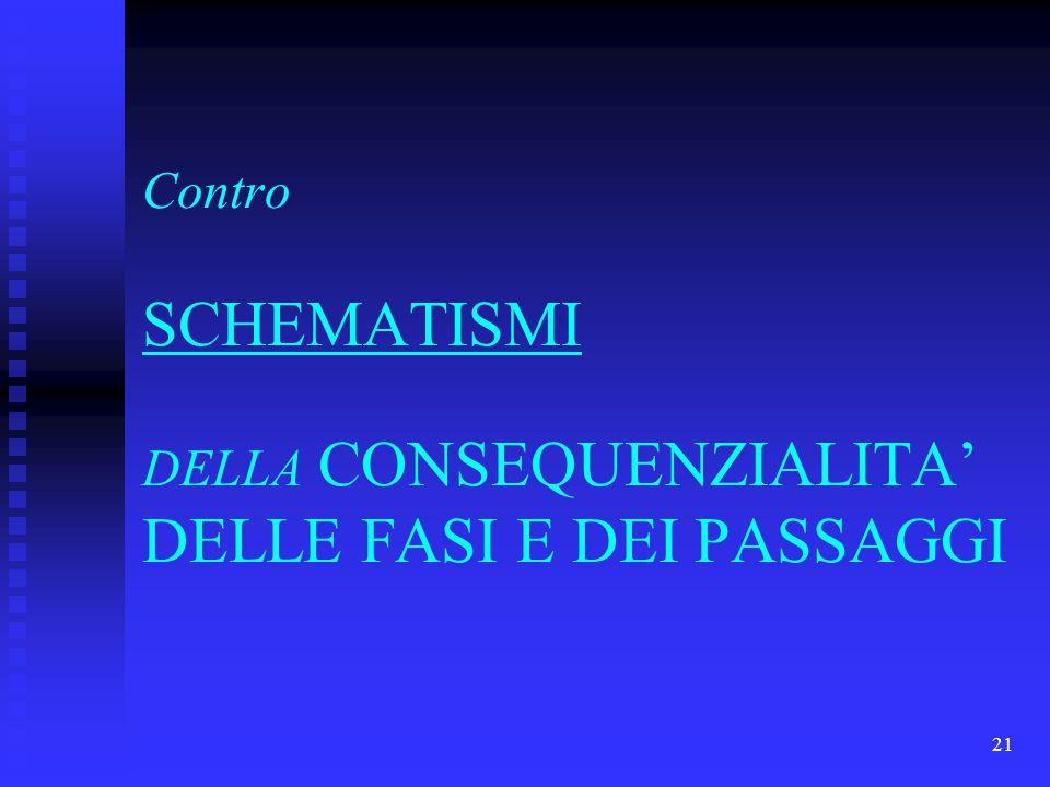 21 Contro SCHEMATISMI DELLA CONSEQUENZIALITA' DELLE FASI E DEI PASSAGGI