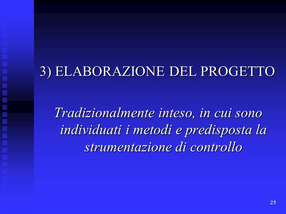 25 3) ELABORAZIONE DEL PROGETTO Tradizionalmente inteso, in cui sono individuati i metodi e predisposta la strumentazione di controllo