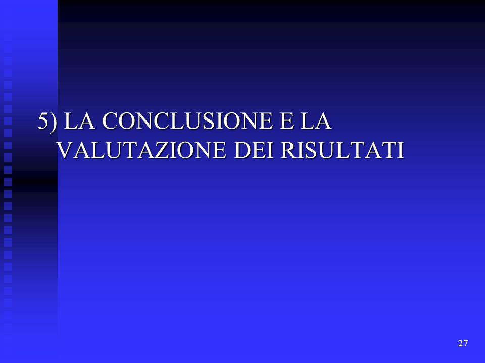 27 5) LA CONCLUSIONE E LA VALUTAZIONE DEI RISULTATI