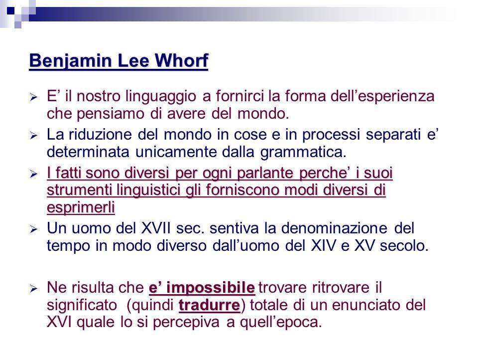 Benjamin Lee Whorf  E' il nostro linguaggio a fornirci la forma dell'esperienza che pensiamo di avere del mondo.  La riduzione del mondo in cose e i
