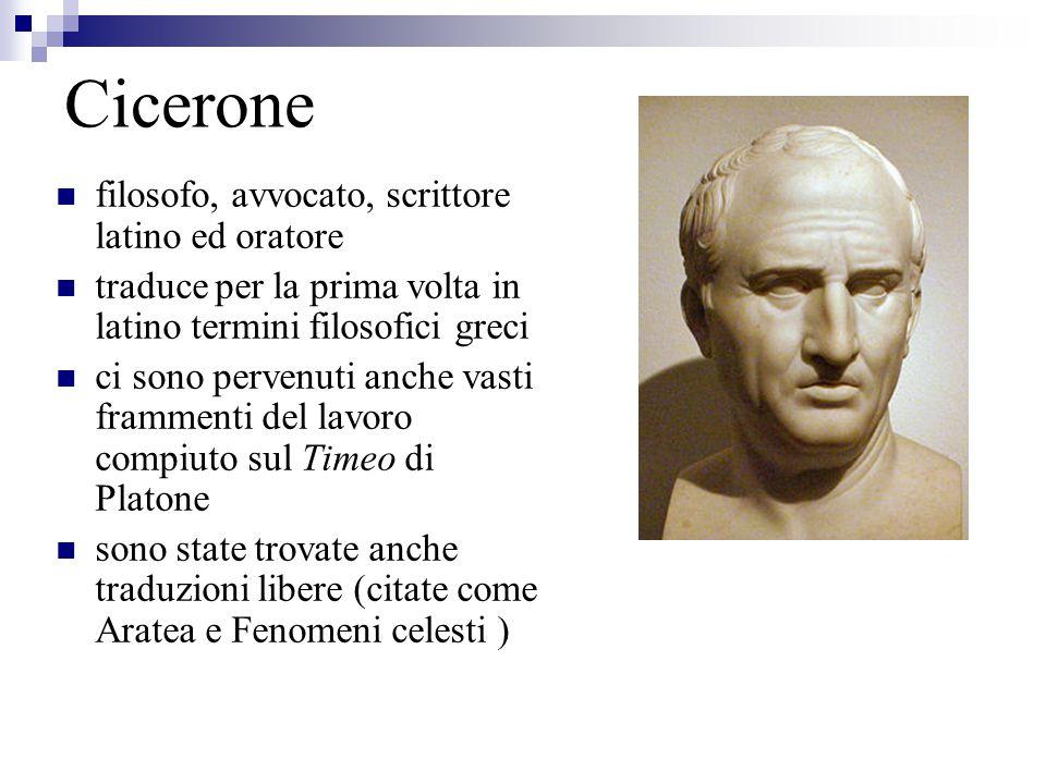 Cicerone filosofo, avvocato, scrittore latino ed oratore traduce per la prima volta in latino termini filosofici greci ci sono pervenuti anche vasti f