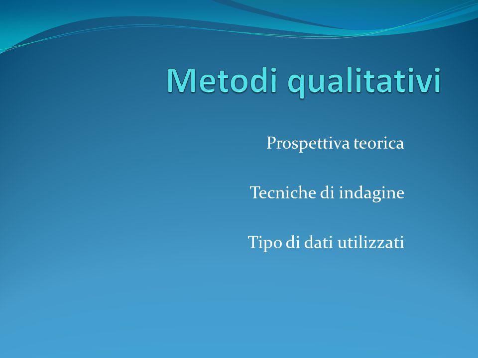 Prospettiva teorica Tecniche di indagine Tipo di dati utilizzati