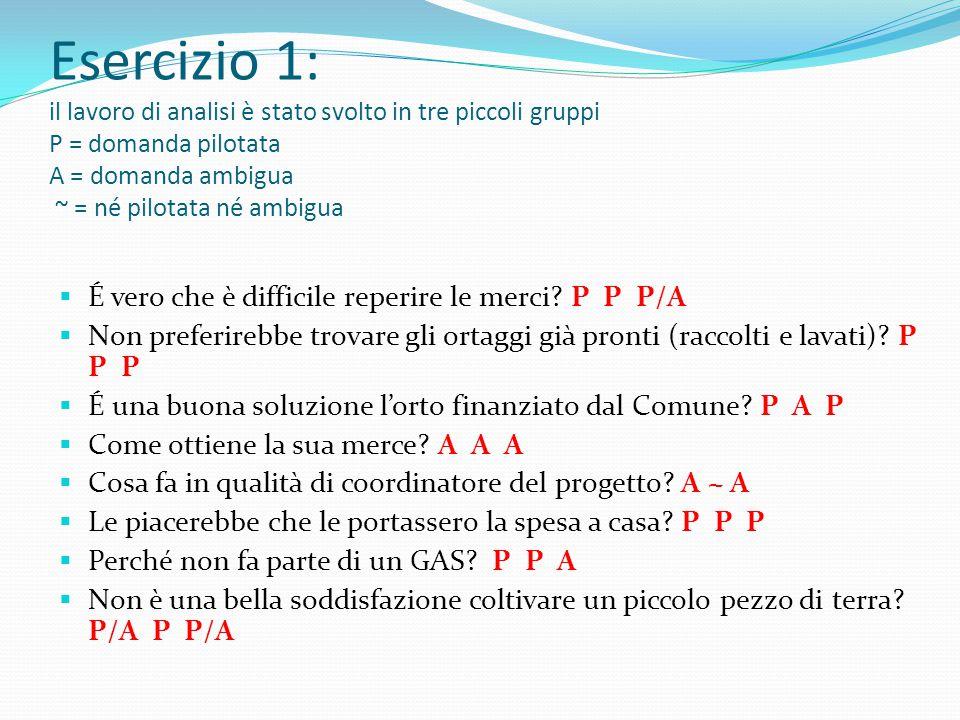 Esercizio 1: il lavoro di analisi è stato svolto in tre piccoli gruppi P = domanda pilotata A = domanda ambigua ~ = né pilotata né ambigua  É vero che è difficile reperire le merci.