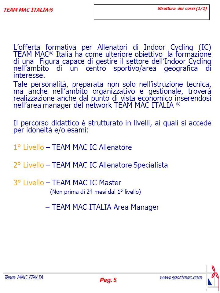 Pag. 5 www.sportmac.com Team MAC ITALIA TEAM MAC ITALIA® Struttura dei corsi (1/1) L'offerta formativa per Allenatori di Indoor Cycling (IC) TEAM MAC