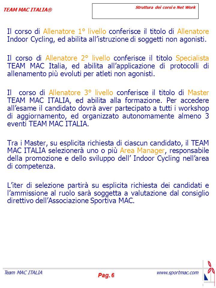 Pag. 6 www.sportmac.com Team MAC ITALIA TEAM MAC ITALIA® Struttura dei corsi e Net Work Struttura dei corsi e Net Work Il corso di Allenatore 1° livel