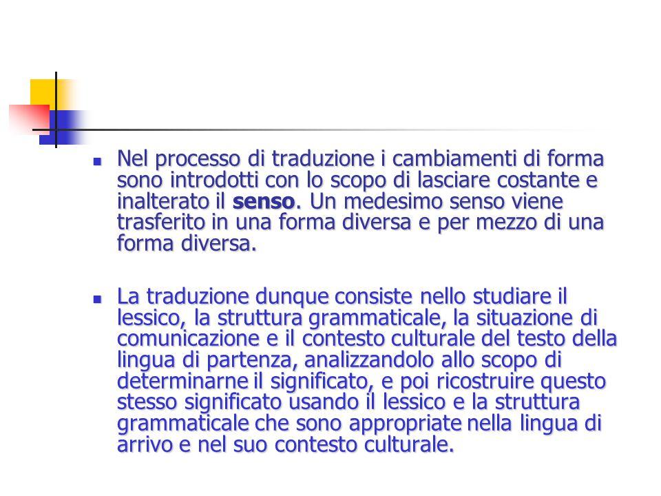 Nel processo di traduzione i cambiamenti di forma sono introdotti con lo scopo di lasciare costante e inalterato il senso.