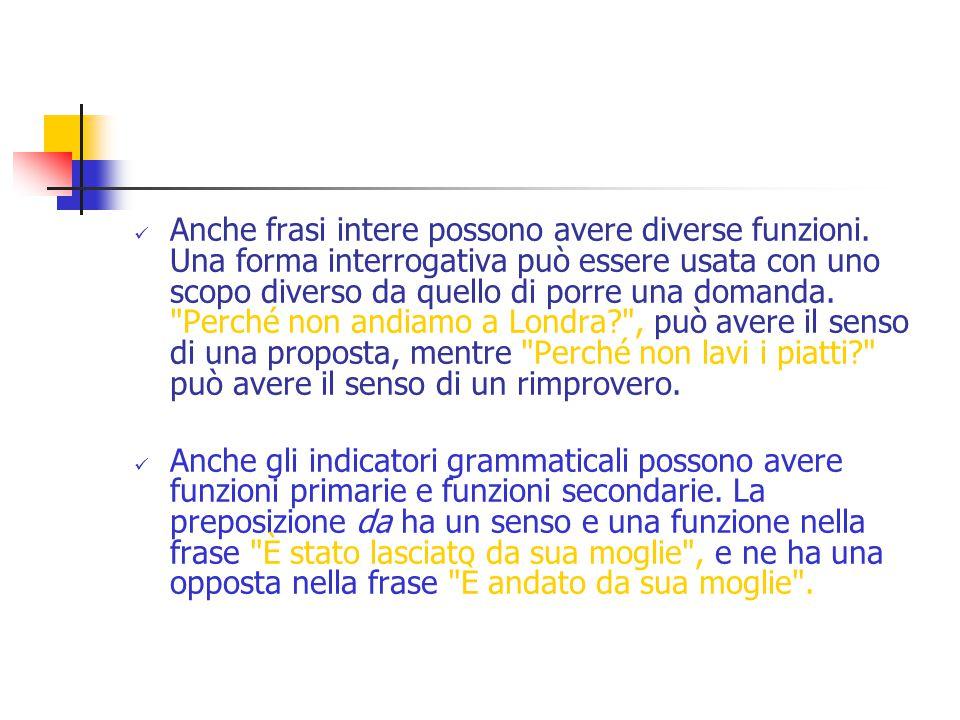 Anche frasi intere possono avere diverse funzioni.
