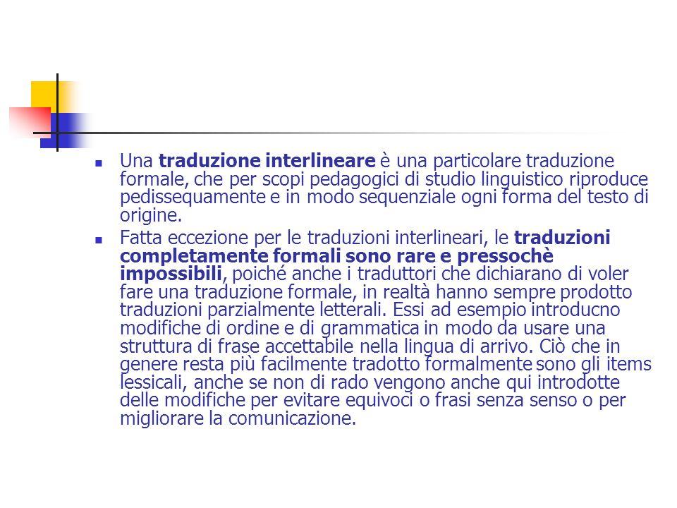 Una traduzione interlineare è una particolare traduzione formale, che per scopi pedagogici di studio linguistico riproduce pedissequamente e in modo sequenziale ogni forma del testo di origine.