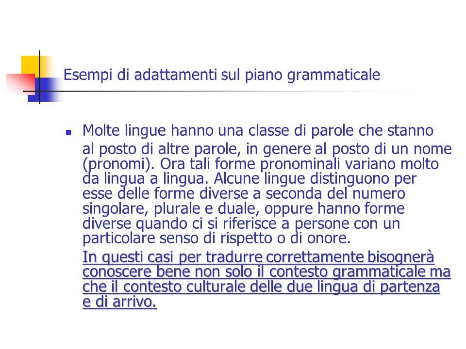 Esempi di adattamenti sul piano grammaticale Molte lingue hanno una classe di parole che stanno al posto di altre parole, in genere al posto di un nome (pronomi).