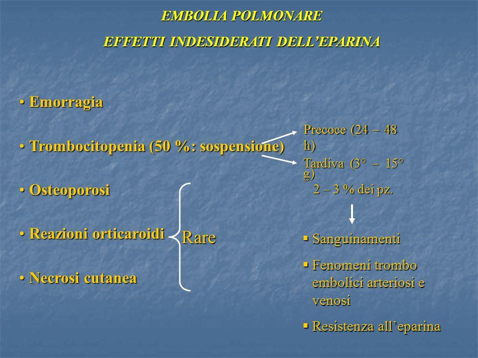 EFFETTI INDESIDERATI DELL'EPARINA EMBOLIA POLMONARE EmorragiaEmorragia Trombocitopenia (50 %: sospensione)Trombocitopenia (50 %: sospensione) Osteopor