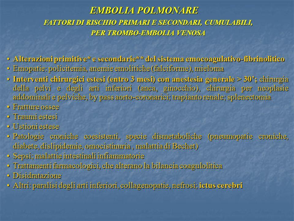 FATTORI DI RISCHIO PRIMARI E SECONDARI, CUMULABILI, PER TROMBO-EMBOLIA VENOSA Alterazioni primitive* e secondarie** del sistema emocoagulativo-fibrino