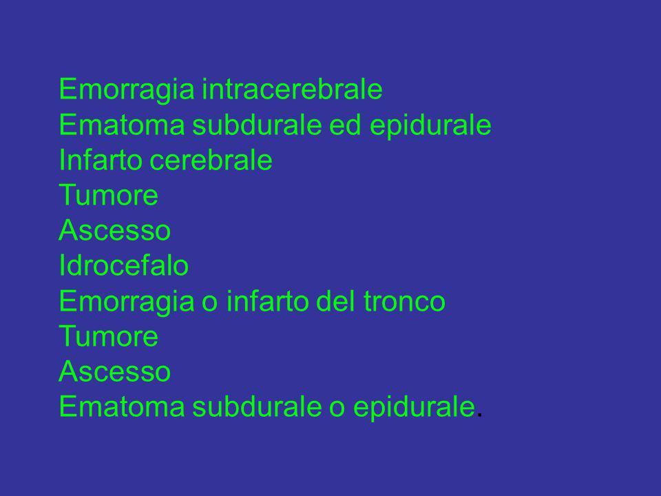 Emorragia intracerebrale Ematoma subdurale ed epidurale Infarto cerebrale Tumore Ascesso Idrocefalo Emorragia o infarto del tronco Tumore Ascesso Emat