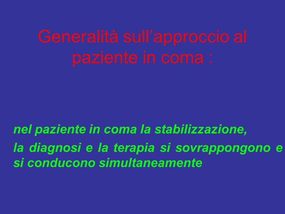 Generalità sull'approccio al paziente in coma : nel paziente in coma la stabilizzazione, la diagnosi e la terapia si sovrappongono e si conducono simu