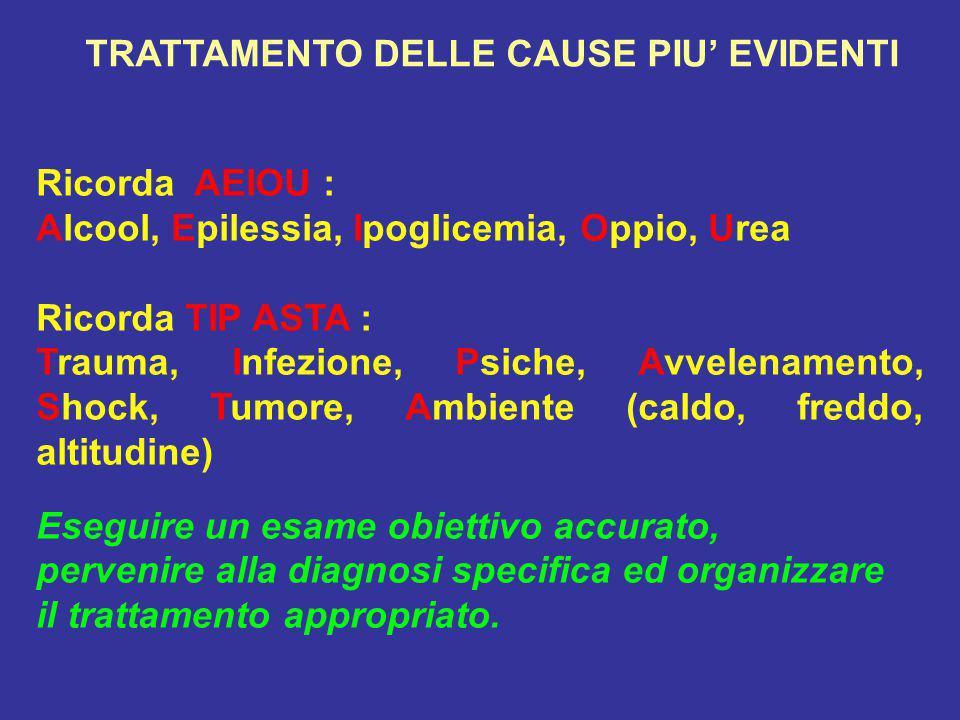 Ricorda AEIOU : Alcool, Epilessia, Ipoglicemia, Oppio, Urea Ricorda TIP ASTA : Trauma, Infezione, Psiche, Avvelenamento, Shock, Tumore, Ambiente (cald