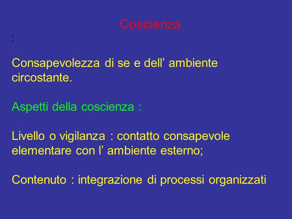 Coscienza : Consapevolezza di se e dell' ambiente circostante. Aspetti della coscienza : Livello o vigilanza : contatto consapevole elementare con l'