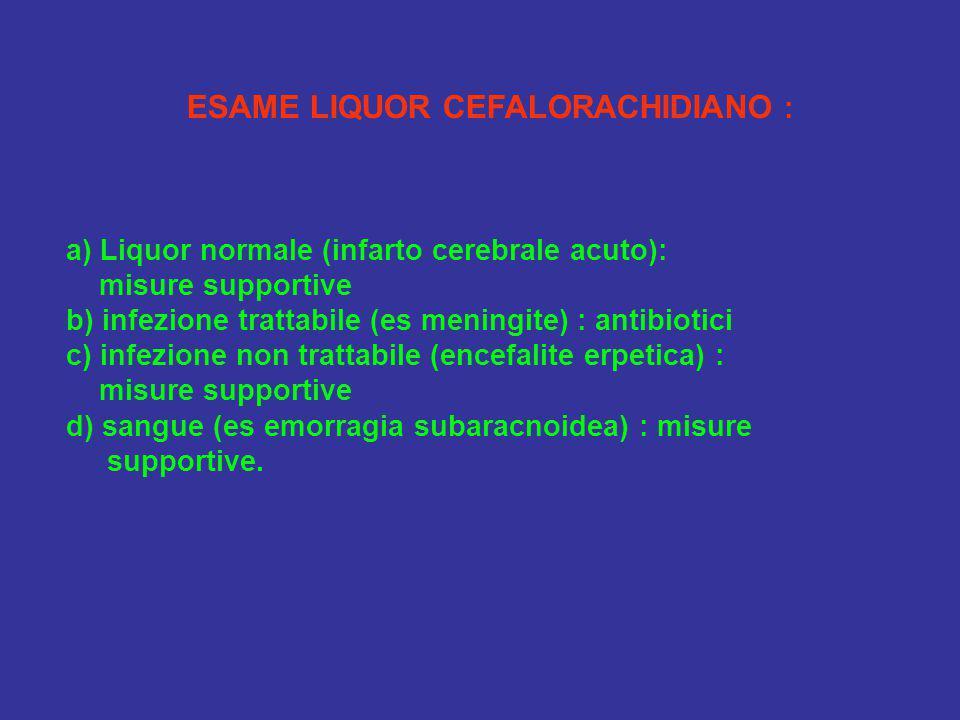 ESAME LIQUOR CEFALORACHIDIANO : a) Liquor normale (infarto cerebrale acuto): misure supportive b) infezione trattabile (es meningite) : antibiotici c)