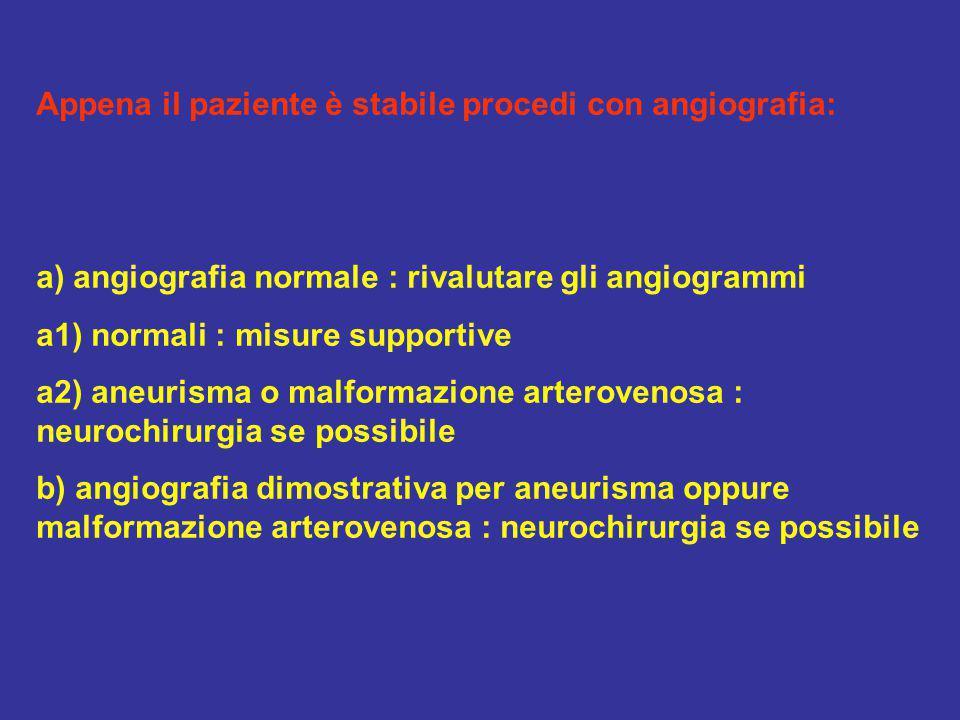 Appena il paziente è stabile procedi con angiografia: a) angiografia normale : rivalutare gli angiogrammi a1) normali : misure supportive a2) aneurism