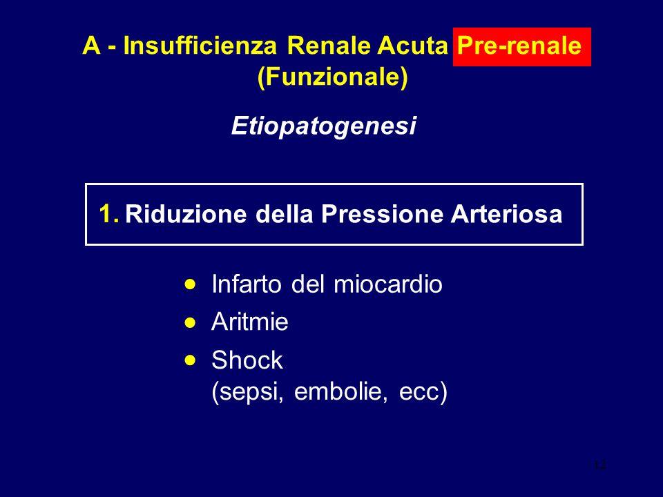 12 A - Insufficienza Renale Acuta Pre-renale (Funzionale) Etiopatogenesi Riduzione della Pressione Arteriosa 1. Infarto del miocardio Aritmie Shock (s