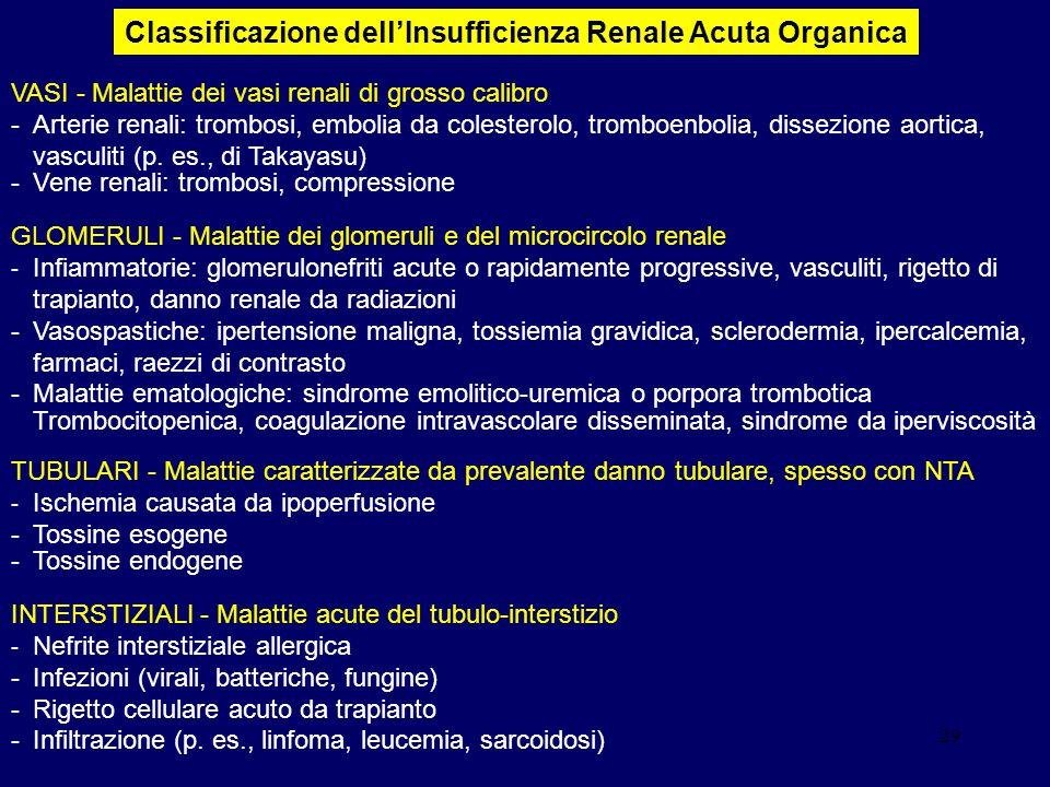 29 VASI - Malattie dei vasi renali di grosso calibro -Arterie renali: trombosi, embolia da colesterolo, tromboenbolia, dissezione aortica, vasculiti (