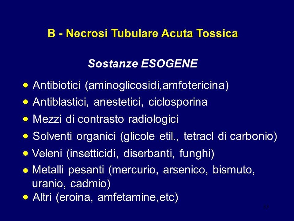 33 B - Necrosi Tubulare Acuta Tossica Sostanze ESOGENE Antibiotici (aminoglicosidi,amfotericina) Antiblastici, anestetici, ciclosporina Mezzi di contr