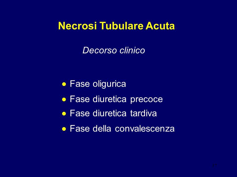 37 Necrosi Tubulare Acuta Decorso clinico Fase oligurica Fase diuretica precoce Fase diuretica tardiva Fase della convalescenza