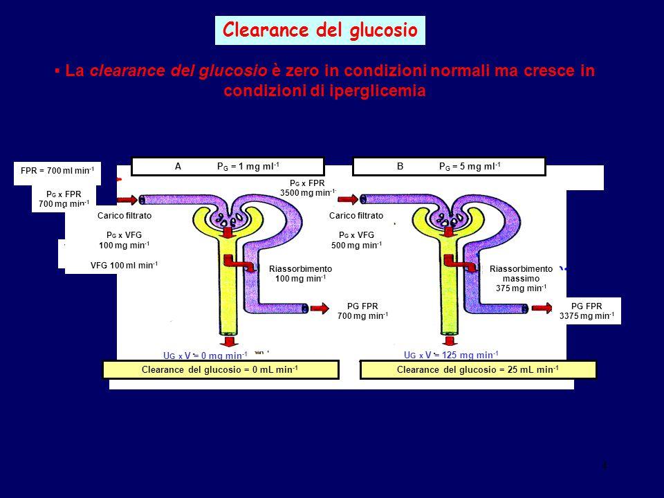 4 Clearance del glucosio FPR = 700 ml min -1 VFG = 100 ml min -1 A P G = 1 mg ml -1 B P G = 5 mg ml -1 Riassorbimento 100 mg min -1 Riassorbimento mas