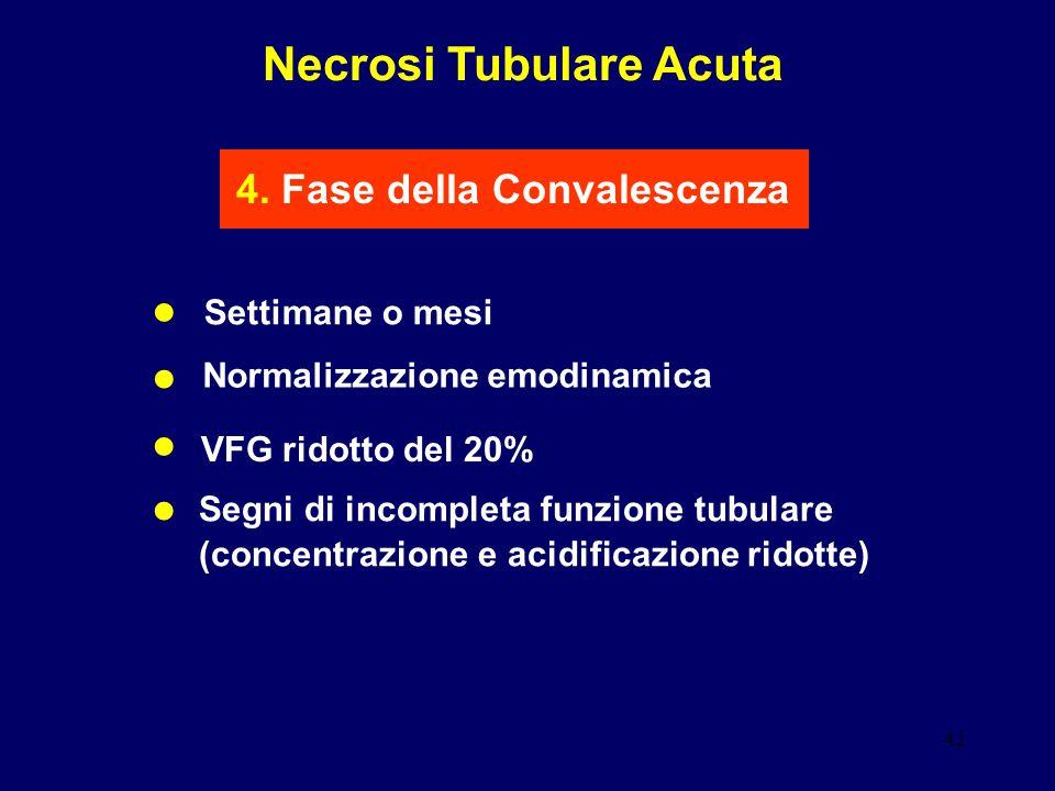 42 Necrosi Tubulare Acuta 4. Fase della Convalescenza Settimane o mesi VFG ridotto del 20% Segni di incompleta funzione tubulare (concentrazione e aci