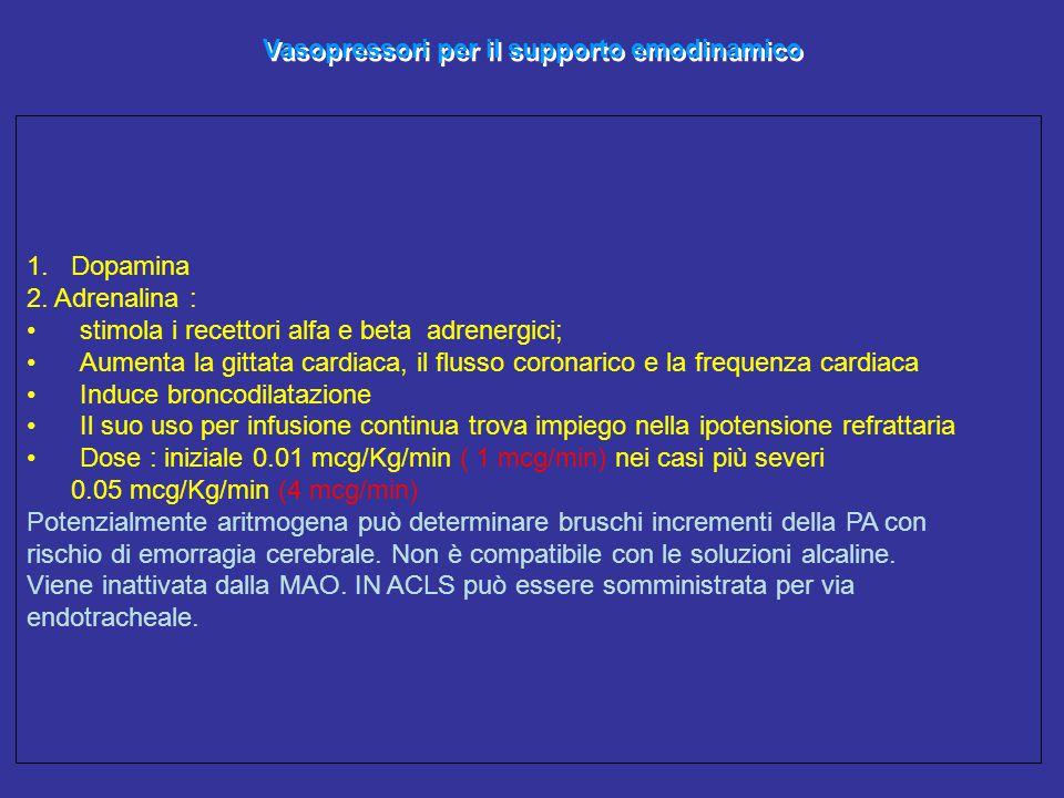 Vasopressori per il supporto emodinamico 1. Dopamina 2. Adrenalina : stimola i recettori alfa e beta adrenergici; Aumenta la gittata cardiaca, il flus