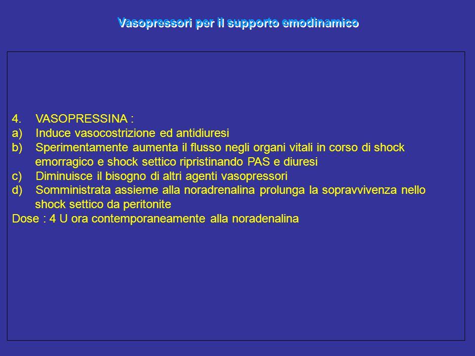 Vasopressori per il supporto emodinamico 4.VASOPRESSINA : a)Induce vasocostrizione ed antidiuresi b)Sperimentamente aumenta il flusso negli organi vit