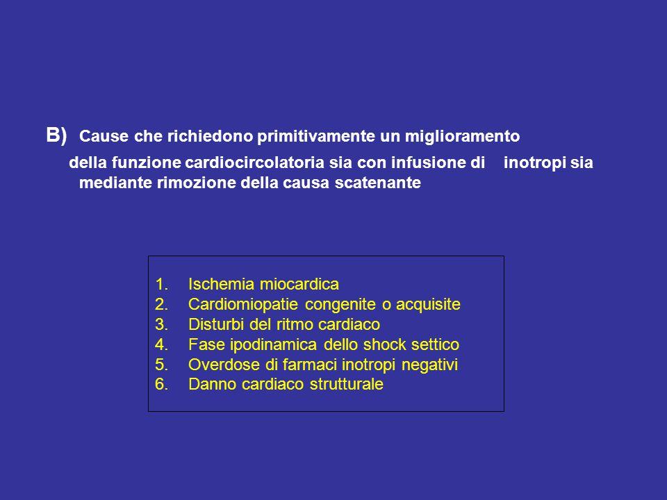 B) Cause che richiedono primitivamente un miglioramento della funzione cardiocircolatoria sia con infusione di inotropi sia mediante rimozione della c