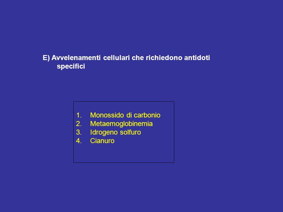 E) Avvelenamenti cellulari che richiedono antidoti specifici 1.Monossido di carbonio 2.Metaemoglobinemia 3.Idrogeno solfuro 4.Cianuro