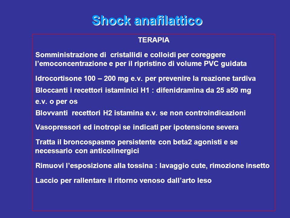 Shock anafilattico TERAPIA Somministrazione di cristallidi e colloidi per coreggere l'emoconcentrazione e per il ripristino di volume PVC guidata Idro
