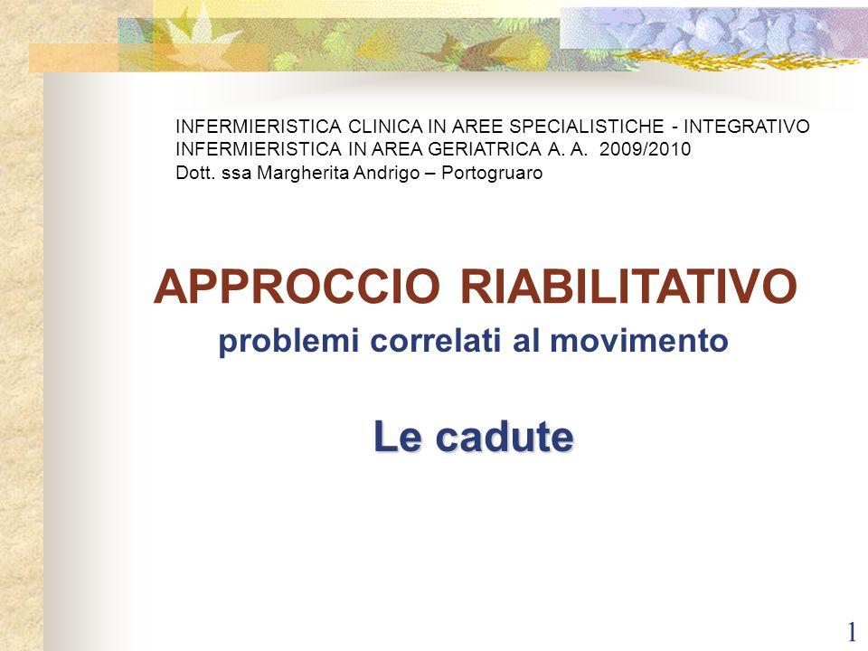 1 problemi correlati al movimento Le cadute APPROCCIO RIABILITATIVO INFERMIERISTICA CLINICA IN AREE SPECIALISTICHE - INTEGRATIVO INFERMIERISTICA IN AR