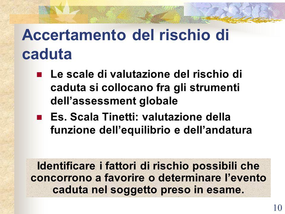 10 Accertamento del rischio di caduta Le scale di valutazione del rischio di caduta si collocano fra gli strumenti dell'assessment globale Es. Scala T