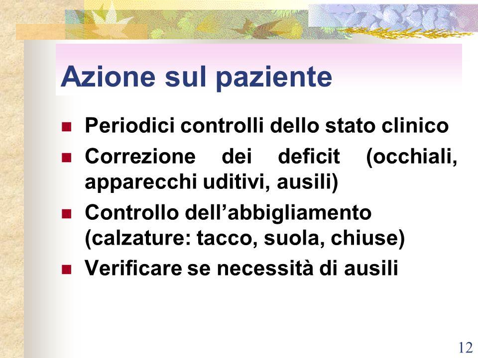 12 Azione sul paziente Periodici controlli dello stato clinico Correzione dei deficit (occhiali, apparecchi uditivi, ausili) Controllo dell'abbigliame