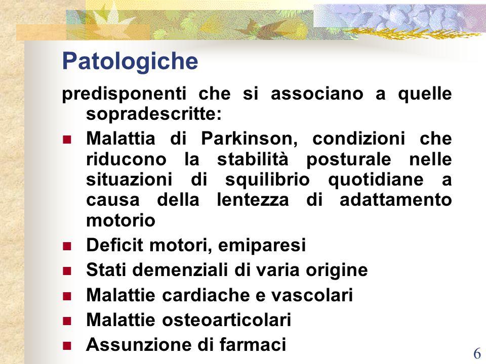 6 Patologiche predisponenti che si associano a quelle sopradescritte: Malattia di Parkinson, condizioni che riducono la stabilità posturale nelle situ