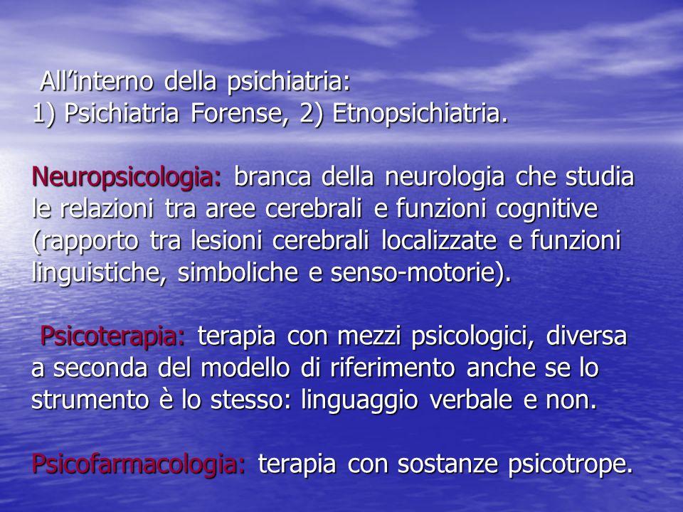 All'interno della psichiatria: 1) Psichiatria Forense, 2) Etnopsichiatria. Neuropsicologia: branca della neurologia che studia le relazioni tra aree c