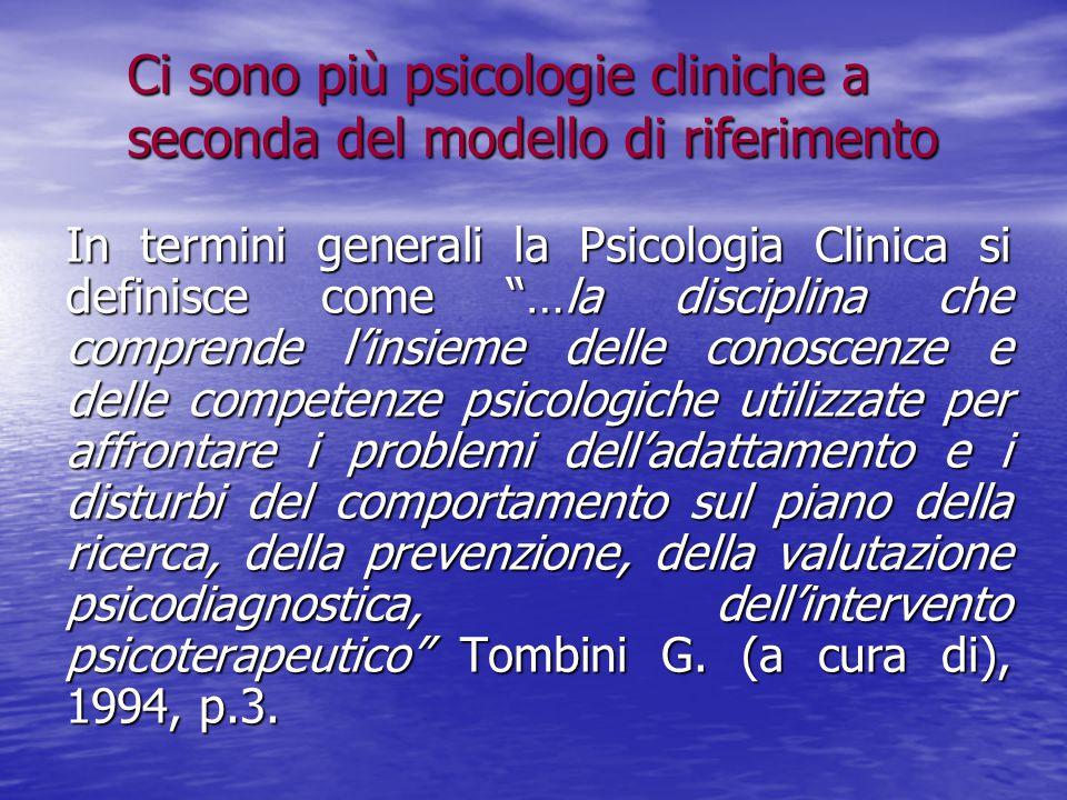"""Ci sono più psicologie cliniche a seconda del modello di riferimento In termini generali la Psicologia Clinica si definisce come """"…la disciplina che c"""