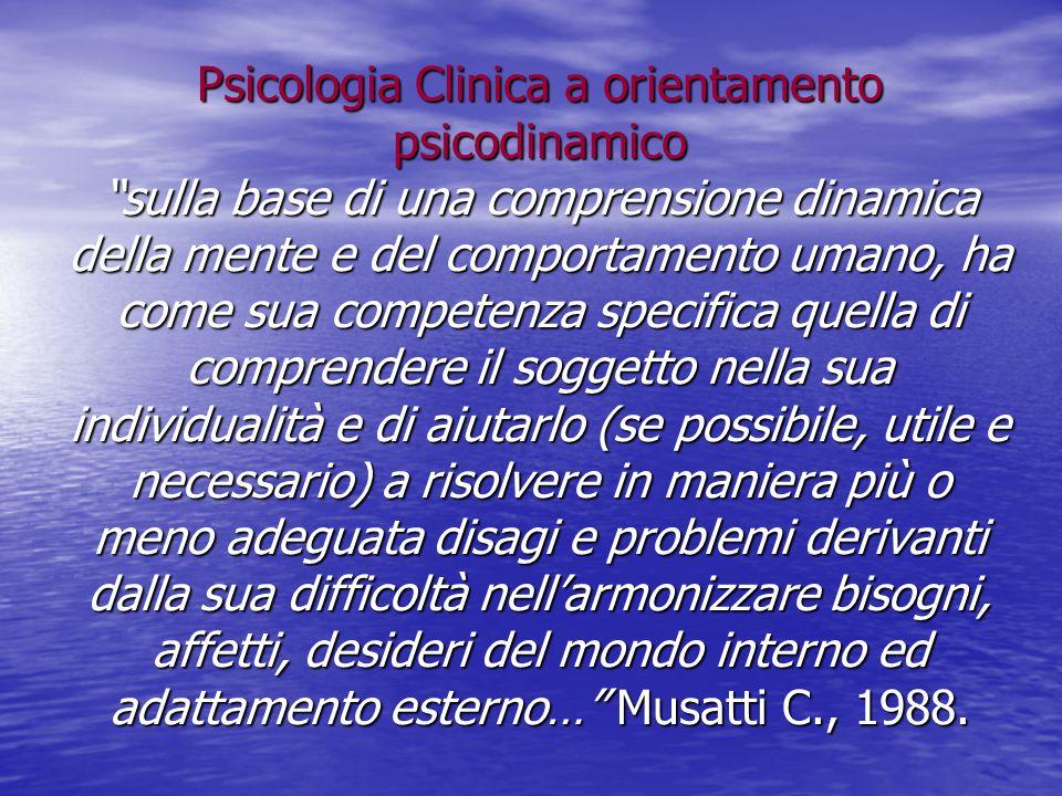 """Psicologia Clinica a orientamento psicodinamico """"sulla base di una comprensione dinamica della mente e del comportamento umano, ha come sua competenza"""